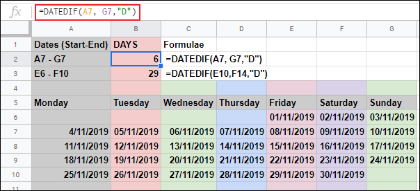 The DATEDIF function in Google Sheets, calculating the number of days between two dates, using two individual cell references