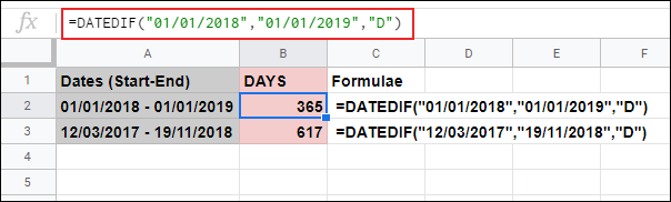 The DATEDIF function in Google Sheets, calculating the number of days between two set dates used within the formula