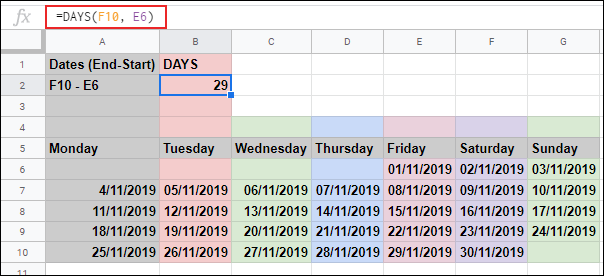 The DAYS function in Google Sheets, calculating the number of days held in two other cells