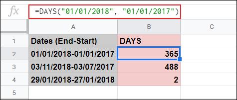 La función DÍAS utilizada para calcular los días entre dos fechas en Hojas de cálculo de Google