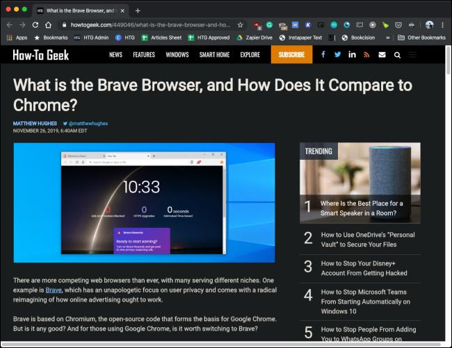 Dark Reader extension in action in Google Chrome