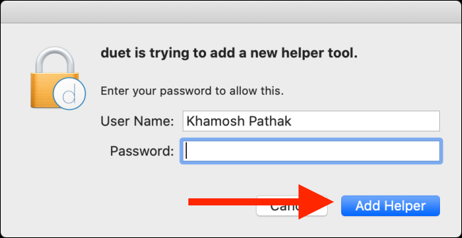 """Type your password, and then click """"Add Helper."""""""
