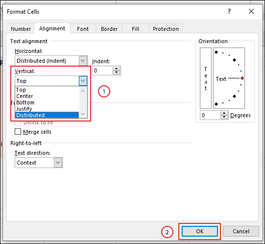 Select your top or bottom text indent options from the vertical dropdown menu in the format cells box