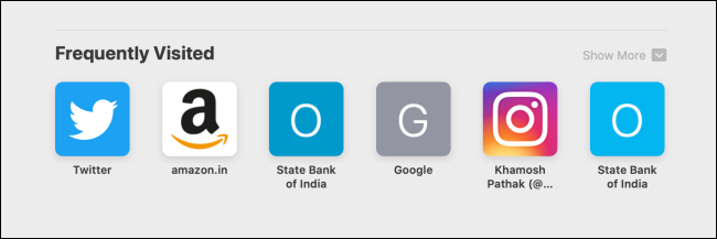 Frequently Visited section in Safari on Mac