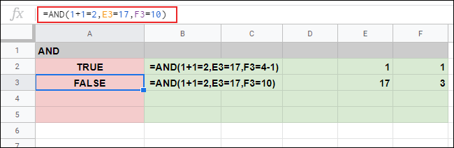 A FALSE response in cell A3 to three arguments on a Google Sheets spreadsheet.