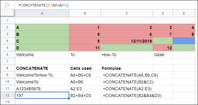 The CONCATENATE function in Google Sheets linking cells together without operators.