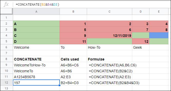 La función CONCATENAR en Google Sheets une celdas sin operadores.