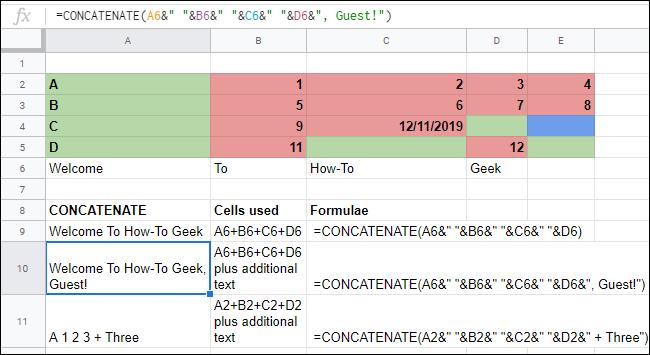 La función CONCATENAR con operadores complejos en una hoja de cálculo de Google Sheets.