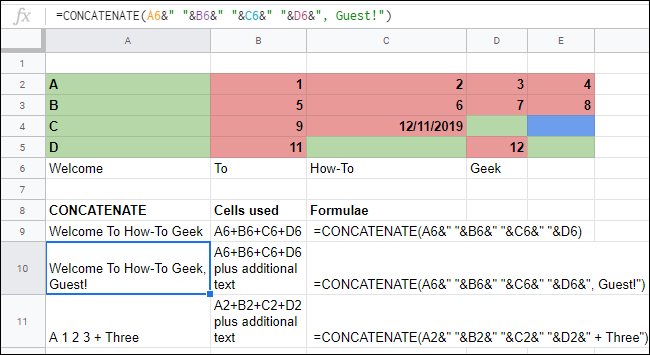The CONCATENATE function with complex operators in a Google Sheets spreadsheet.