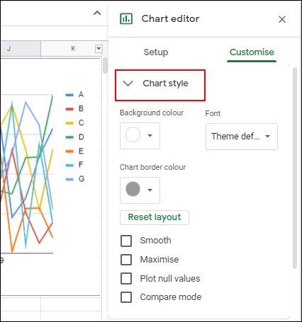 In the Customize tab of the Google Sheets Chart Editor, click the Chart Style sub-menu