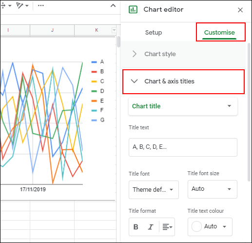 To add chart titles, click the Customize tab in the Google Sheets chart editor, then click Chart & Axis Titles