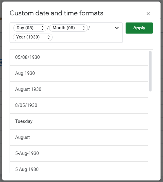 Click Format > Number > More Formats > More Date and Time Formats to change your date or time formatting in Google Sheets