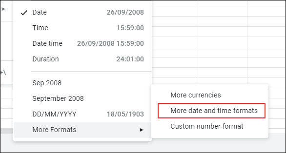 Additional Google Sheets date and time formatting options can be found by clicking Format > Number > More Formats > More Date and Time Formats