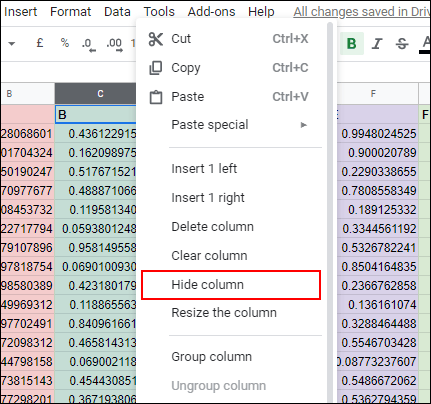 Right click a column header, then click Hide Column to hide that column in Google Sheets