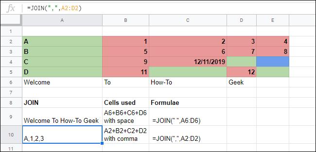 La función JOIN fusiona matrices de celdas en una hoja de cálculo de Google Sheets.