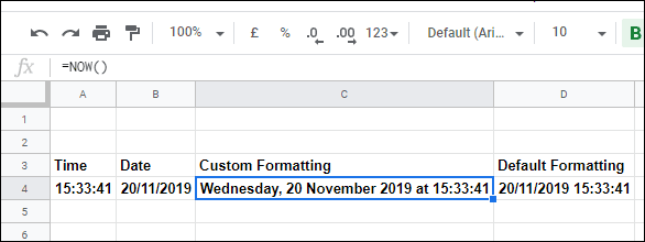 The NOW function in Google Sheets, with various formatting options to display the time, date, or both