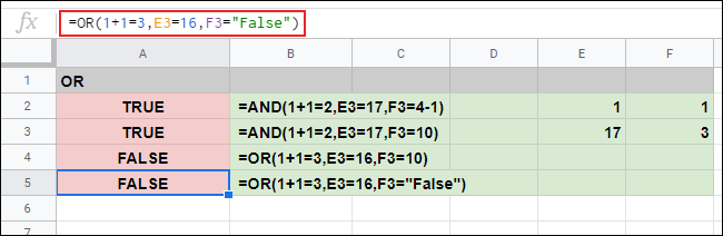 The OR function used in Google Sheets, with no correct arguments, resulting in a FALSE response