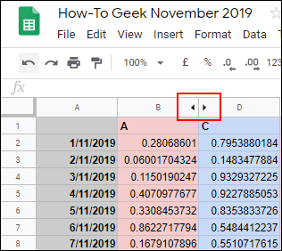 Click the opposite arrows to display a hidden column in Google Sheets