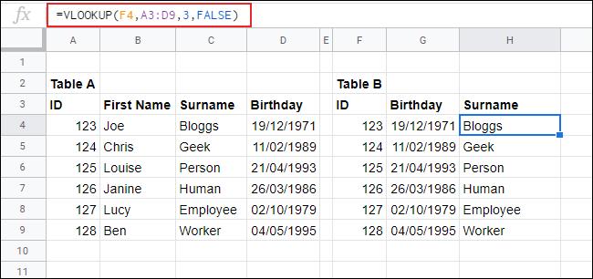 VLOOKUP en Google Sheets, devolviendo datos de una tabla a otra.