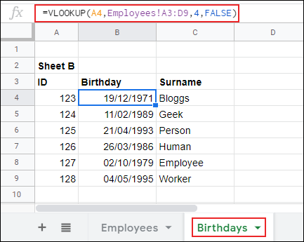 VLOOKUP in Google Sheets, returning data from one sheet to another.