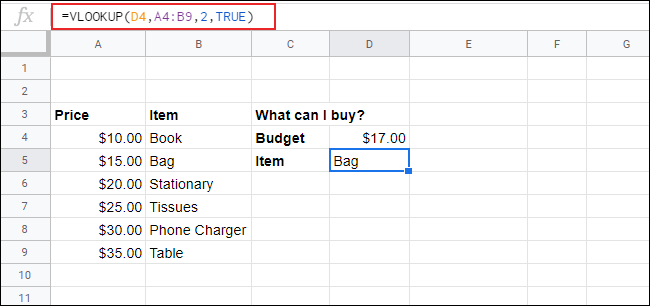 A VLOOKUP in Google Sheets with sorted data to find the nearest value to the search key value.