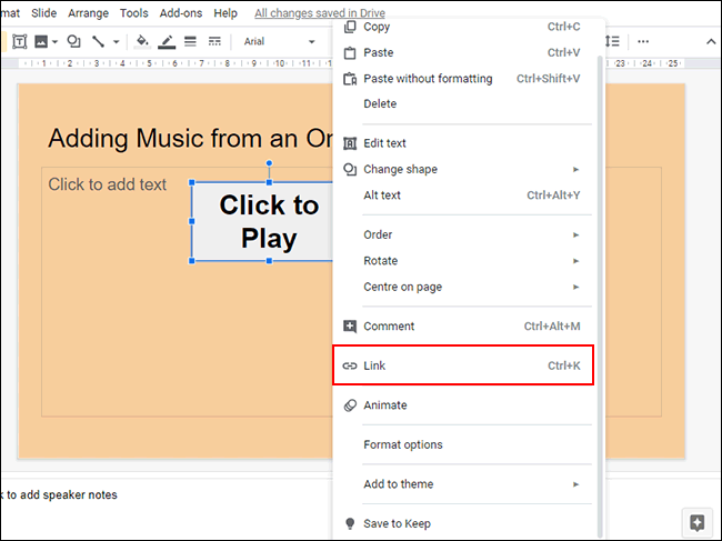 Right-click your object in Google Slides, then click Link