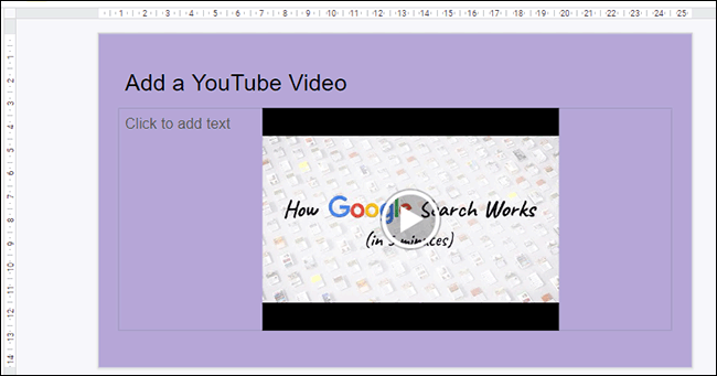 A YouTube video inserted into a Google Slides presentation