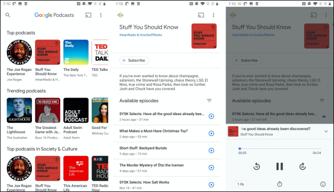 The Google Podcasts app on an Android phone.