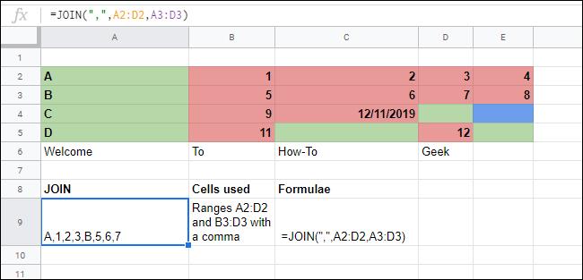 La función JOIN fusiona varias matrices en una hoja de cálculo de Google Sheets.