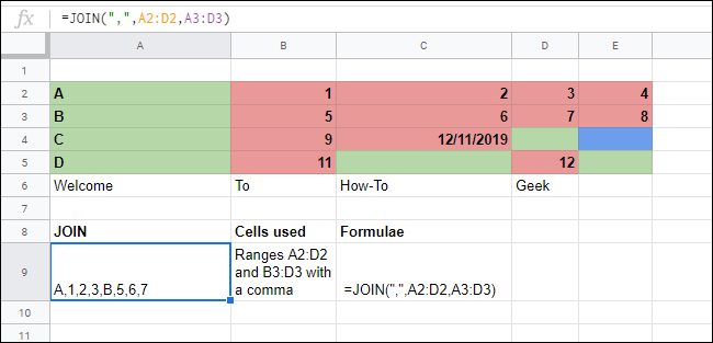 The JOIN Function merging multiple arrays in a Google Sheets spreadsheet.
