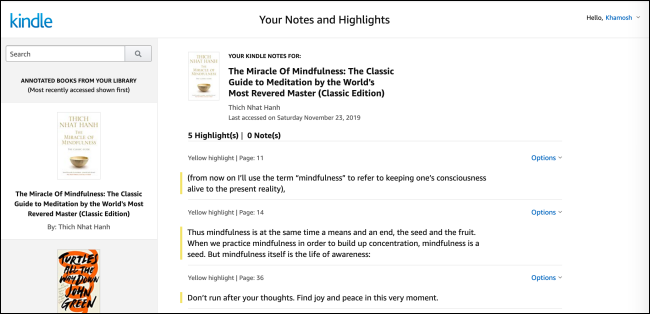 Kindle Notebook online with highlights