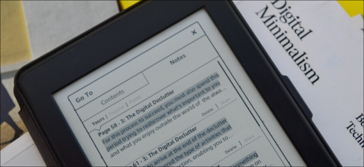 Kindle Paperwhite showing the Notes section for a book