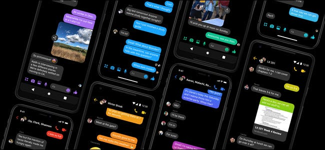The Facebook Messenger app on eight smartphones sitting side-by-side.