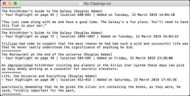 My Clippings file on Kindle with highlights