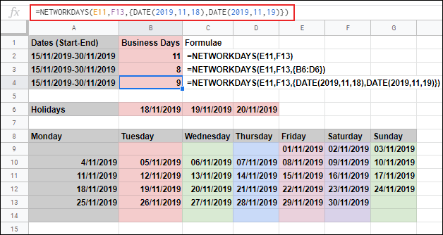 The NETWORKDAYS function in Google Sheets, calculating the business days between two dates and ignoring Saturday and Sunday, with additional holiday days excluded