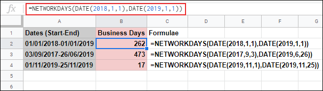 The NETWORKDAYS function in Google Sheets, calculating the business days between two dates and ignoring Saturday and Sunday using a nested DATE formula