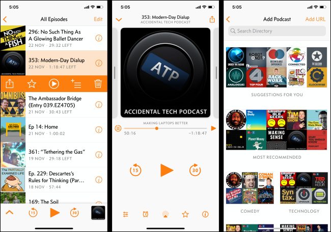 """The """"All Episodes,"""" """"Add Podcast,"""" and Playback menus in the Overcast podcast app on an iPhone."""