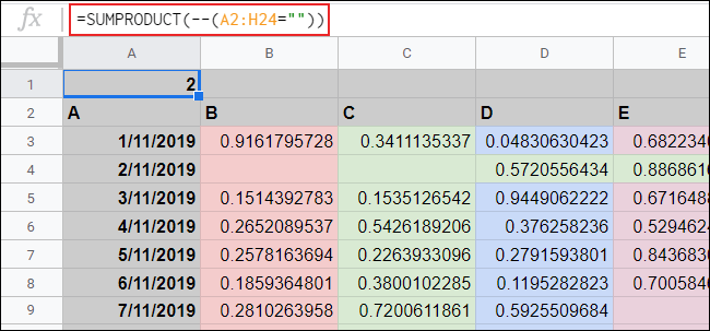 The SUMPRODUCT function counting empty cells in Google Sheets