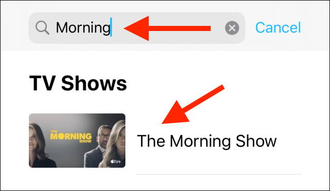Search for a show and then select it from the list