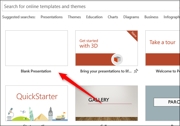 Select Blank Presentation