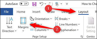 Select Margins in Page Layout section