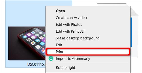 Select Print in Windows 10