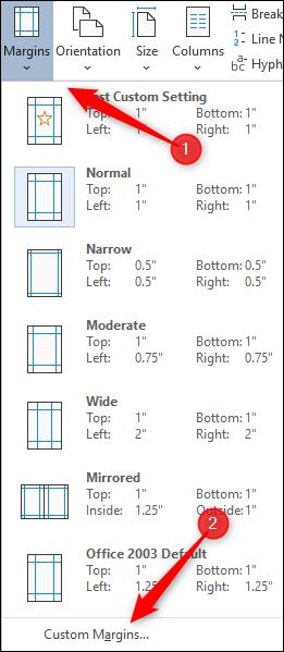 Select custom margins option
