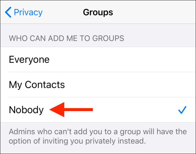 Select the Nobody option from Groups on iPhone