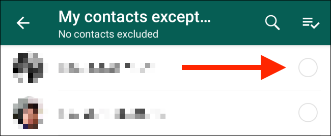 Select the contacts you want to exclude