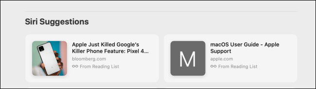 Siri Suggestions section in Safari on Mac
