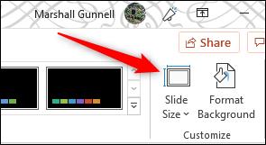 Slide size options