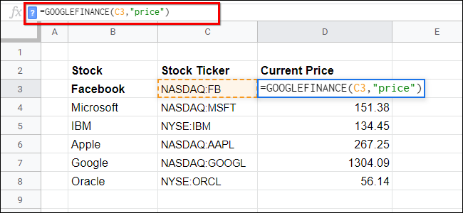 Google Finance Sheets List of Stock Tickers