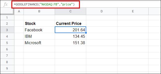 Google FInance Sheets Single Example