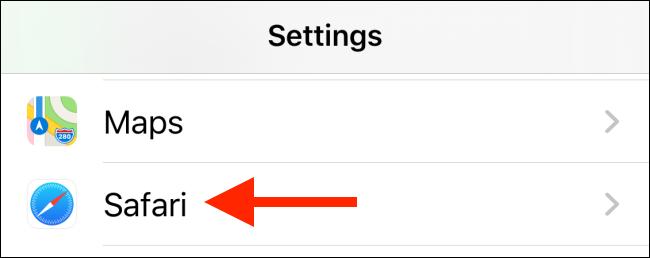 Tap on Safari from the Settings app